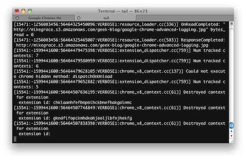 Google Chrome logging to Terminal