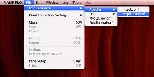 edit apache httpd-ssl.conf file in mamp template