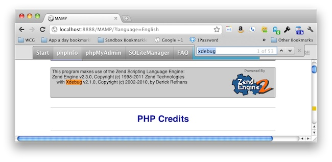 confirm xdebug running on mamp on mac osx