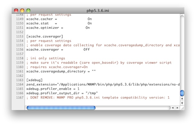 edited php.ini file to run xdebug on mamp mac osx