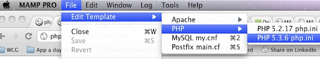 edit php.ini template for mamp on mac osx